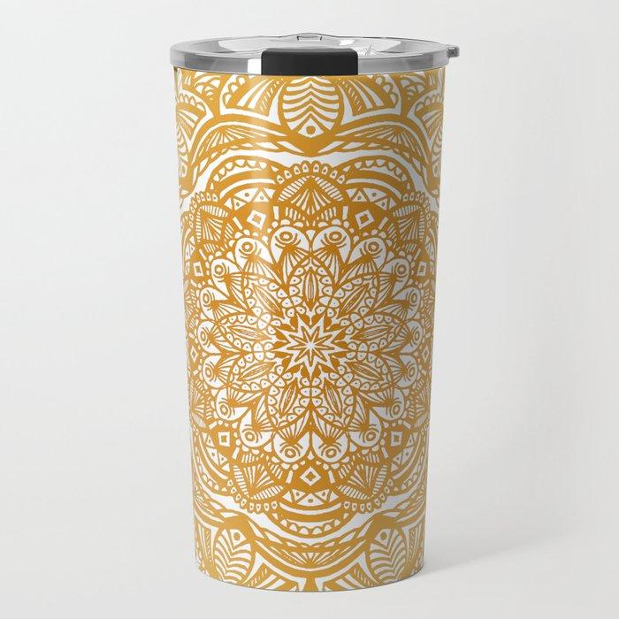 Golden Mustard Yellow Orange Ethnic Mandala Detailed Travel Mug
