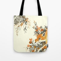 fox Tote Bags featuring fox in foliage by Teagan White