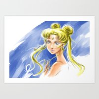 sailormoon Art Prints featuring Princess Serenity by Keith Gutierrez