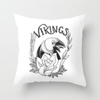 vikings Throw Pillows featuring Vikings by Christiano Mere