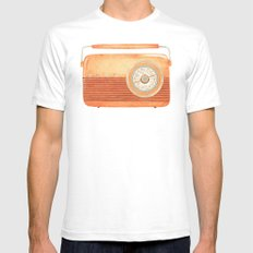 Radio Silence White Mens Fitted Tee SMALL