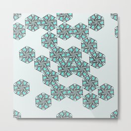 Snowy Rocky Mountain Tops Illustration - Grey and Blue Palette Metal Print