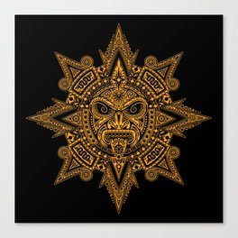 Ancient Yellow and Black Aztec Sun Mask Canvas Print