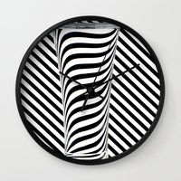 striped Wall Clocks featuring Striped Water by Steve Purnell