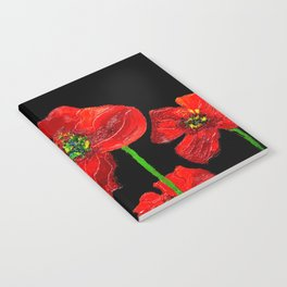 red flowers on black Notebook