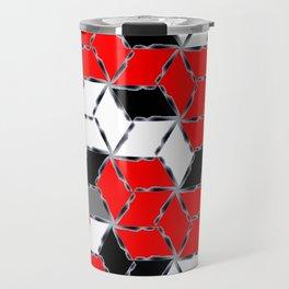 red white black grey cubes geometric 3d pattern Travel Mug