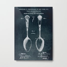1870 - Design for spoon and fork-handles patent art Metal Print
