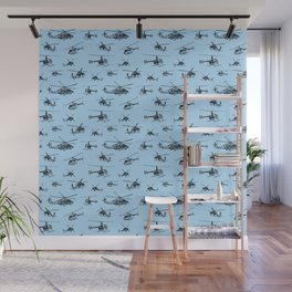 Helicopters on Sky Blue Wall Mural