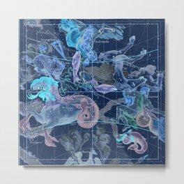 Star Atlas Vintage Constellation Map Blue Ignace Gaston Pardies Metal Print