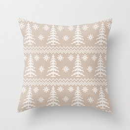 Stitched Evergreens in Beige Throw Pillow