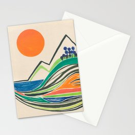 Landscape in many colours and lines Stationery Cards