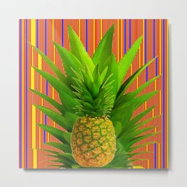 CONTEMPORARY ART PINEAPPLE IN RED-BLUE Metal Print