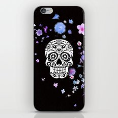 Skull with flower shower iPhone & iPod Skin