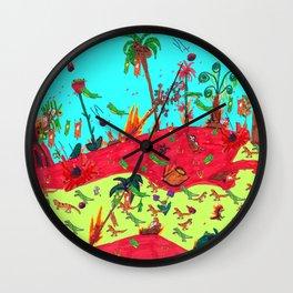 Dinosaur battle_lava flow Wall Clock