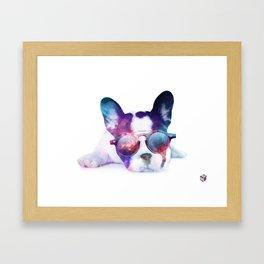 Space Frenchie  Framed Art Print