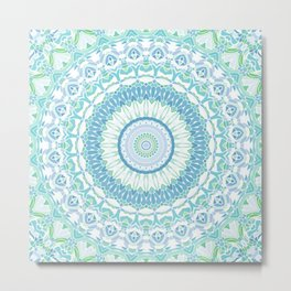 Blue, Green and White Mandala 02 Metal Print
