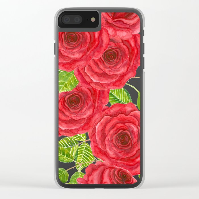 Red watercolor roses with leaves and buds pattern Clear iPhone Case