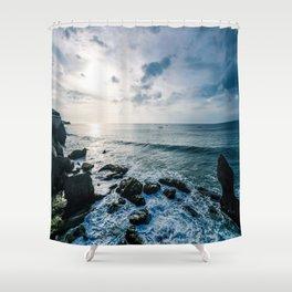 Dusky sky with sea rocks  Shower Curtain