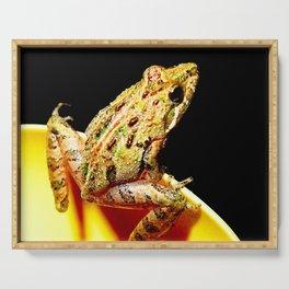 Watercolor Amphibian Cricket Frog Merchants Millpond, Paddles Up Serving Tray
