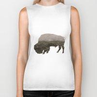 bison Biker Tanks featuring Bison by James Wetherington