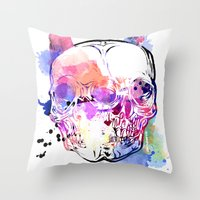 kindle Throw Pillows featuring 127 by ALLSKULL.NET