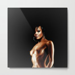 Rihanna - Celebrity Oil Paint Art (Top Less - Open Art) Metal Print