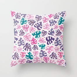 Monstera Doodles in Jewel Tones Throw Pillow