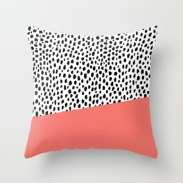Dalmatian Spots with Coral Stripe (Pantone Living Coral) Throw Pillow
