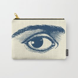 I see you. Navy Blue on Cream Carry-All Pouch