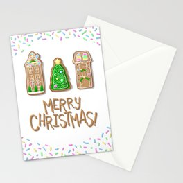 Merry Christmas Poster with Gingerbread Houses and Fir Tree Stationery Cards
