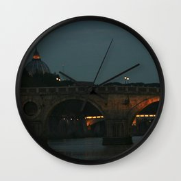 Bridges of Rome in the Evening Wall Clock