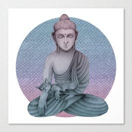 Buddha with cat2 Canvas Print
