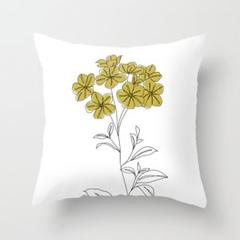 Botanical floral illustration line drawing - Iona Throw Pillow