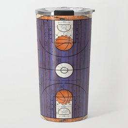 Purple Basketball Court with Basketballs Travel Mug