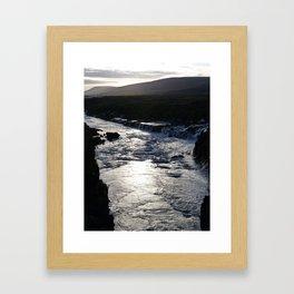 Waterfall at sundown Framed Art Print