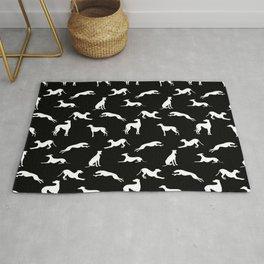 Greyhound Silhouettes White on Black Rug