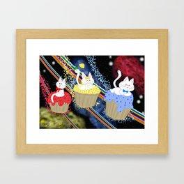Cupcakes kitties in space! Framed Art Print