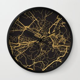 FLORENCE ITALY GOLD ON BLACK CITY MAP Wall Clock