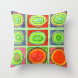 Green Grid filled with Circles and intense Colors Throw Pillow