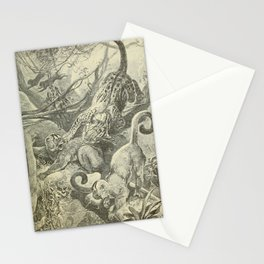 Vintage Print - Animals in Action (1901) - Night Monkey surprised by an Ocelot Stationery Cards