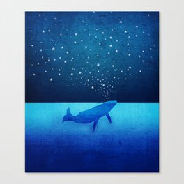 Whale Spouting Stars - Magical & Surreal Canvas Print