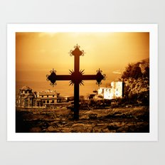 Cross and Church Near St. Anne's Skete, Mount Athos, Greece Art Print