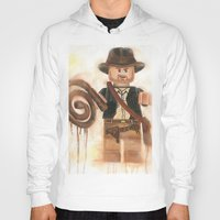 indiana jones Hoodies featuring Indiana Jones Lego by Toys 'R' Art