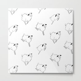 Counting Sheep: Pattern Metal Print