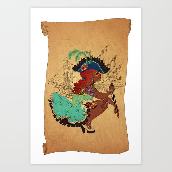Tattooed Lady Pirate Art Print