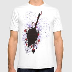 Bleeding Black Heart Guitar Mens Fitted Tee White MEDIUM