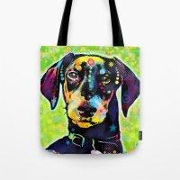 dachshund Tote Bags featuring Dachshund by Gary Grayson