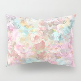 Shabby vintage pink baby blue watercolor floral Pillow Sham