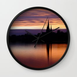 Sunset Reflection At The Lichfield Cathedral Wall Clock
