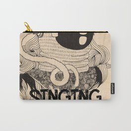 Grunge collage artwork with singing diver. Black and white picture with simple modern sailor in the Carry-All Pouch